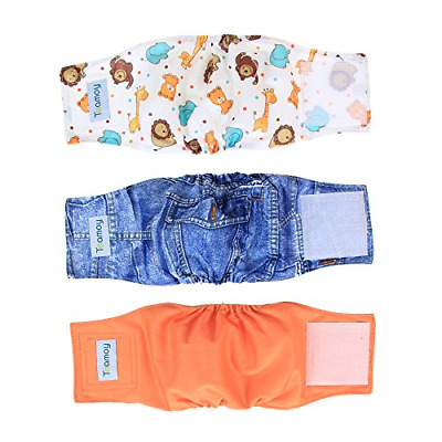 Pack 3 Teamoy Reusable Wrap Diapers for Male Dogs Washable Puppy Belly Band XS