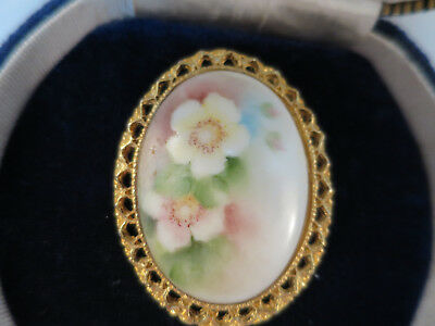 Vintage Hand Painted Porcelain Brooch/Pendant, 1950'S Soft Shades