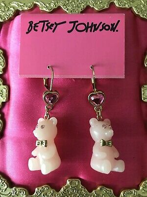 Betsey Johnson Vintage Candyland Candy Lucite Pink Heart Gummy Bear Earrings