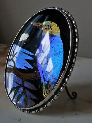 Thomas L.Mott Solid Silver Art Deco Butterfly wing Kingfisher Easel Back Picture
