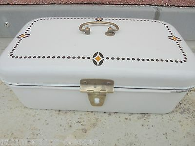 25413 Brotdose groß Emaille Jugendstil Bread bin enamel Design VEWAG gut good
