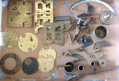 Antique Clock Makers Brass Scrap Box Contents Approx 2kg All Brass Parts