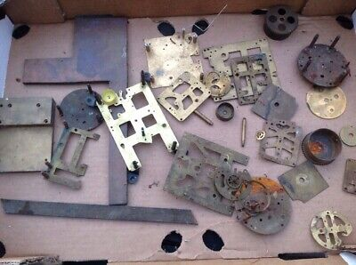 Antique Clock Makers Scrap Box Content Brass Plates And Other Parts Approx 3.2kg
