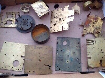 Antique Clock Makers Scrap Box Content Brass Plates And Other Parts Approx 2.5kg