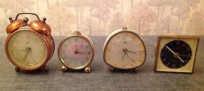 Vintage Alarm Clocks Emes Coral Jutan Junghans Retro Job Lot Collecting / Repair
