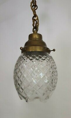 C1920 Quality French Cut Glass Crystal Ceiling Light, Rewired