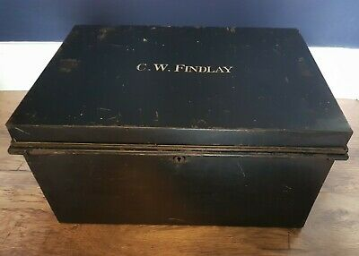 "Large Vintage Metal Deed Box Storage Tin Chest Signwritten ""C.W.FINDLAY"""