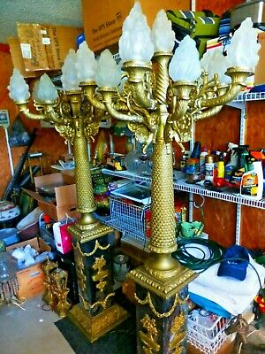 C1915 Pair Of French Chateau 8 Foot Bronze/Marble Eleven Light Candelabra Lamps