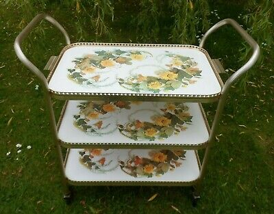 3 Tier Gold Tea Trolley Floral Pattern & Intricate Edging Removeable Top Tray
