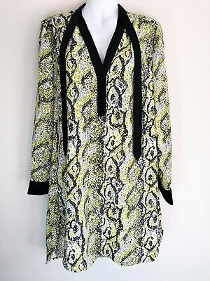 French Connection FCUK Yellow Black Neon Snake Print Shirt Dress Tie Size 10