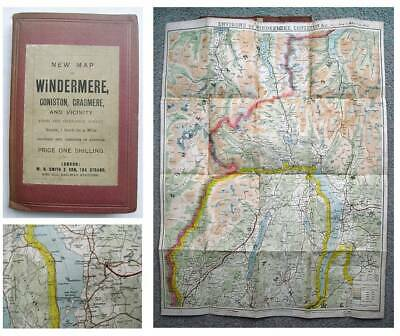 1887 Hand Coloured ORDNANCE SURVEY MAP of THE LAKE DISTRICT Windermere Coniston