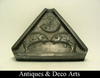 Arts & Crafts Pewter Ashtray with 3 Embossed Fish