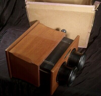 ANTIQUE MAHOGANY STEREO VIEWER STEREOSCOPE EXCELLENT+ , BOXED for transparencies