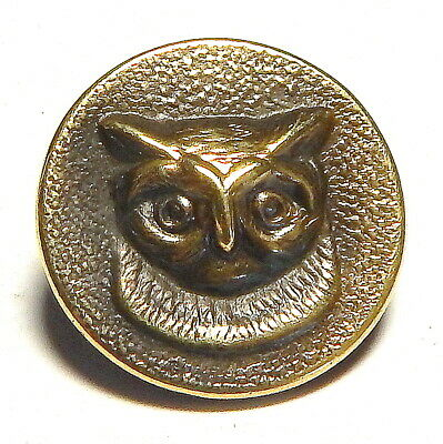 ANTIQUE FRENCH VICTORIAN GILT BRASS HUNT/SPORT BUTTON w/OWL'S HEAD ~ G.J. & F.