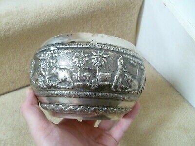 ANTIQUE ANGLO INDIAN SILVER BOWL, KRISHNIAH CHETTY, C.329grams, DATED 1901