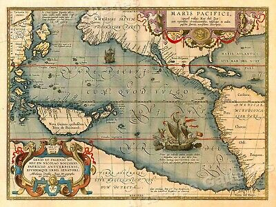 Map of the Pacific Ocean with America 1589 Vintage Style Old World Map - 20x28
