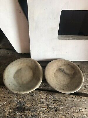 Antique Vintage Style Natural Hand Made Rough Stone Marble Bowls PAIR x2 28cm