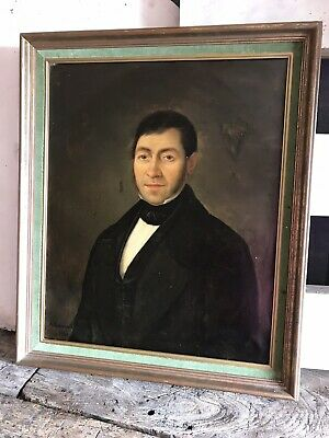 Antique Oil Painting Portrait 19th Century Gentleman Large Framed Signed French