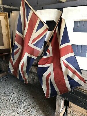 Antique Vintage Cotton Large Union Jack Pole Flag PAIR Harland Wolff Titanic