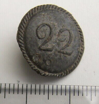 Old One Piece Numbered Army Button 22