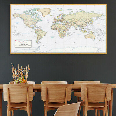 Globe Geographic Ocean HD World Map Canvas Poster Education Art Unframed 109