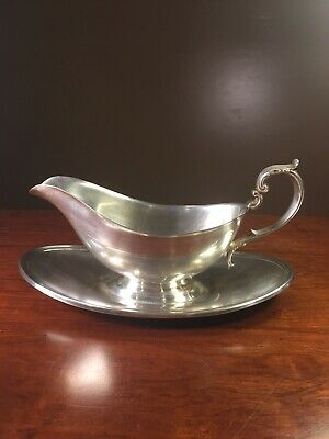 GORHAM SILVERPLATE GRAVY SAUCE BOAT w/ ATTACHED UNDERPLATE YC430 VINTAGE