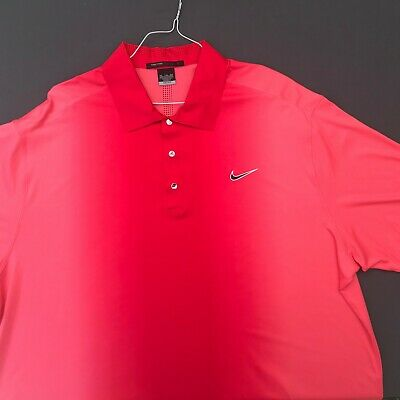 c80eb2b1 Nike Dri Fit Tiger Woods Red-Pink 90% Poly Polo Shirt Mint Cond.