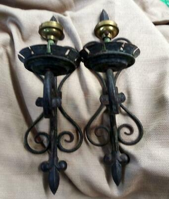 Old Antique Mission Era Tole Wrought Iron Wall Sconces Lamps Set Pair of Two 2