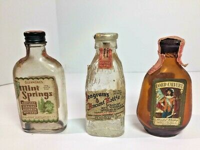 VTG.  Mini's Lord Calvert, Gilmore Bourbon 1933 Seagrams Whiskey All with Stamps