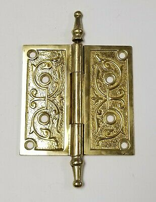 "A24 Antique Brass Eastlake Ornate Steeple Top Hinge (Single) 5"" x 5"""