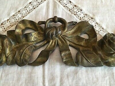 Antique FRENCH Gilt BRONZE BRASS Furniture MOUNT TOPPER Ornament Ribbon Bow Rose