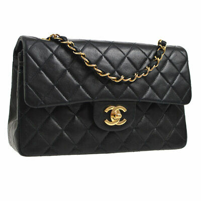 ee1c4b04eb1c Auth CHANEL Quilted CC Double Flap Chain Shoulder Bag Black Leather VTG  S08678