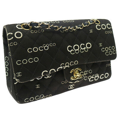 bfdba7e7c27364 Authentic CHANEL Coco Double Flap Quilted Chain Shoulder Bag Black GHW  T04444