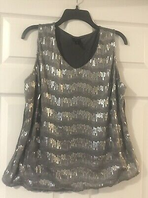 d1bc863c6bb WOMENS WORTHINGTON SLEEVELESS Gray Sequin Tank Top SIZE 1X Plus