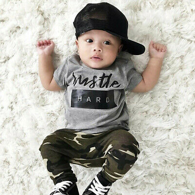 Kid Toddler Infant Baby Boy Letter Tee Tops+Camouflage Pants Outfits Set