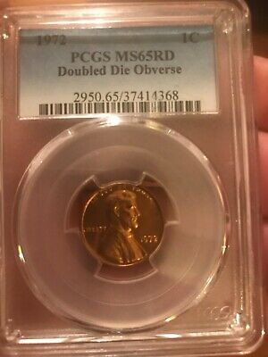 1972 Lincoln cent , double die obverse,  Pcgs MS65 red, rare date