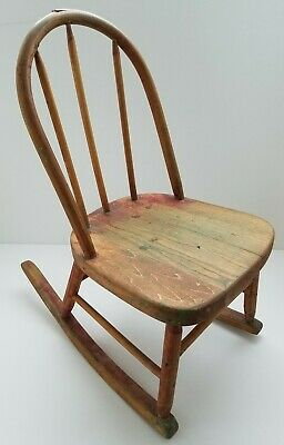 Antique Vintage Childs Rocking Chair Bow Back Solid Oak Wood