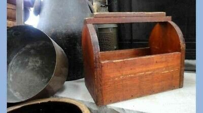 antique EARLY handmade WOOD SHOE SHINE TOTE,orig.RED STAIN w/TINS & GLASS folky