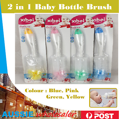 Baby Bottle Cleaner  2 in 1 Nipple Glass Cup Nozzle Spout Tube Cleaning Brush