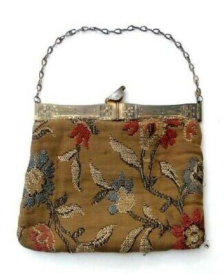 antique victorian LADIES TAPESTRY EMBROIDERED PURSE owned HELENE DAYTON li,ny