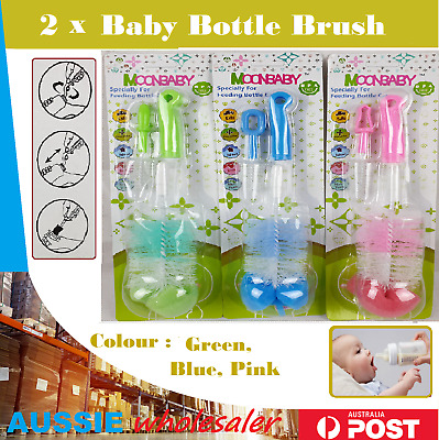 2pcs Baby Bottle Brush Cleaner Milk Cleaning Tool Spout Cup Glass Teapot Washing