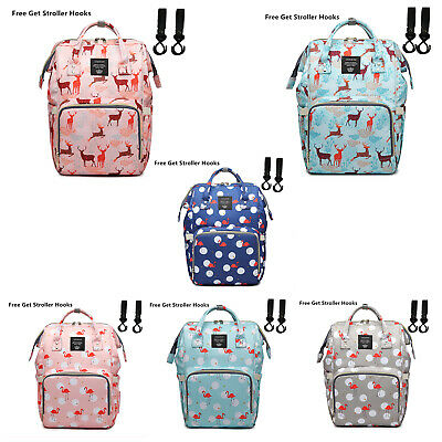 LEQUEEN Mummy Diaper Bag Nappy  Capacity Baby Backpack free get Stroller Hooks