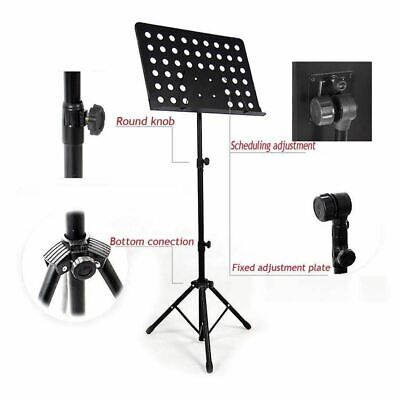 Black Orchestral Sheet Music Stand Holder Tripod Base Adjustable Height