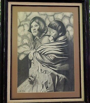 Hmong Mother and Child.  Exceptional original drawing from 1987.