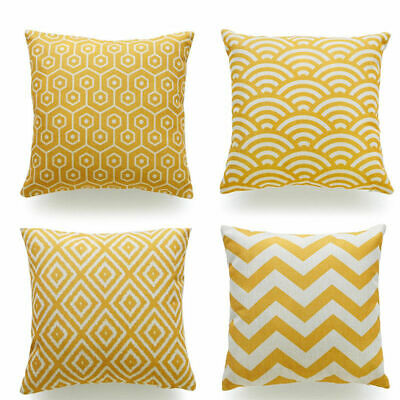 Colmans Mustard Yellow Printed Cushion Covers Pillow Cases Home Decor or Inner