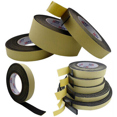 1/2/3mm Black EVA Foam Tape Single Sided Self Adhesive Sponge Door Strip Seal