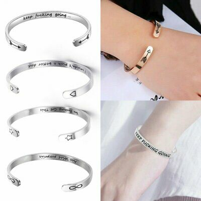 Personalized Stainless Steel Cuff Bracelet Letter Engraved Bangle Jewelry Gift