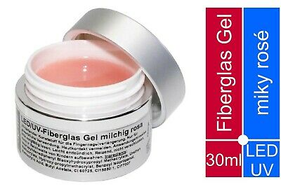30 ml PREMIUM Fiberglas Gel ✅ UV + LED Nagelgel ROSA milchig ✅ super Halt