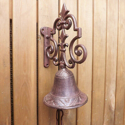 Brown Metal Rustic Vintage Garden Cast Iron Door or Gate Bell on Ornate Bracket