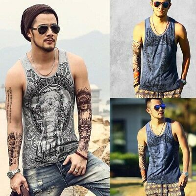 Uk Mens Vest Tank T-Shirts Trim Muscle Sleeveless Casual Summer Sport Gym Tops